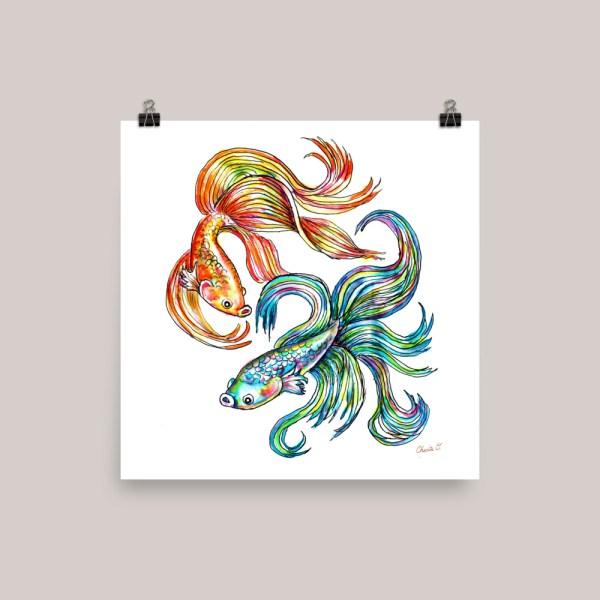Siamese Fighting Fish Watercolor Print