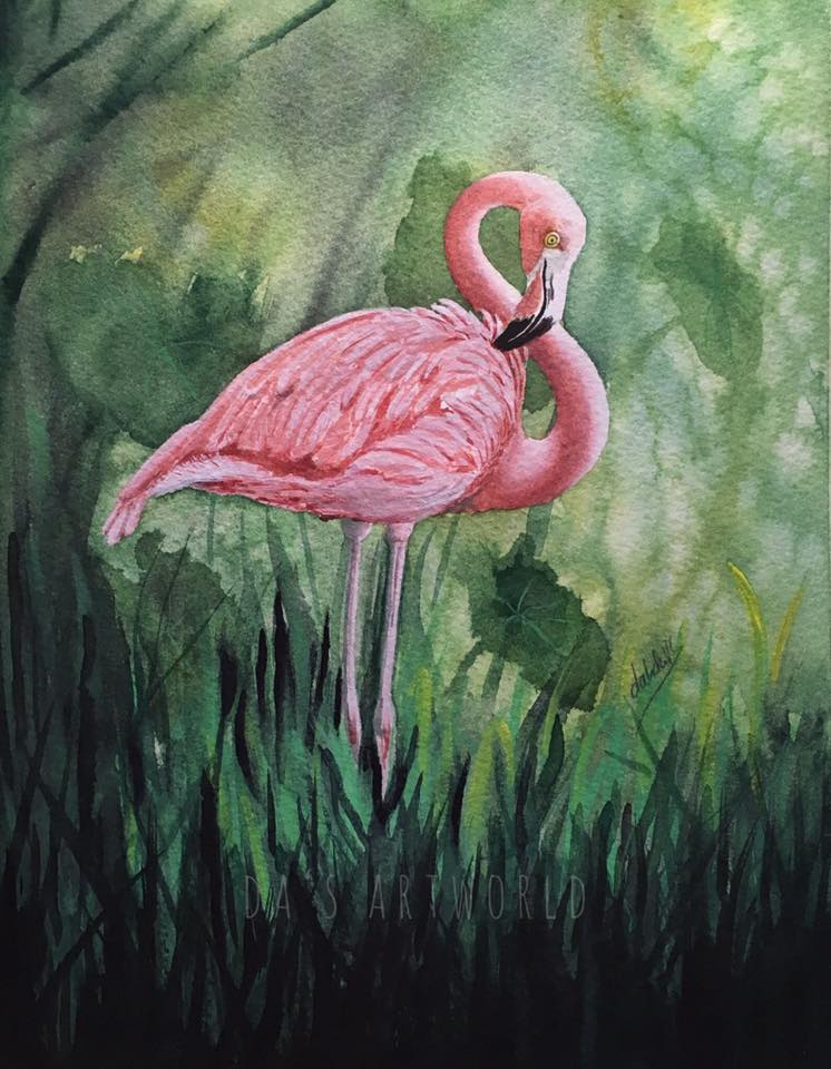 Finished my little flamingo! After the masking fluid mess I had I didn't know I can save it. I use