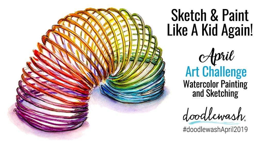 April 2019 Sketching Drawing Painting Challenge Doodlewash