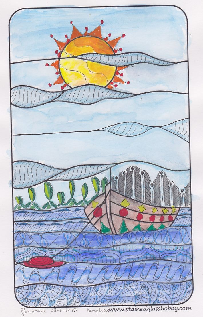 A boat and some patterns. https://jskunstweven.wordpress.com/2019/03/01/a-template-watercolors-and-p
