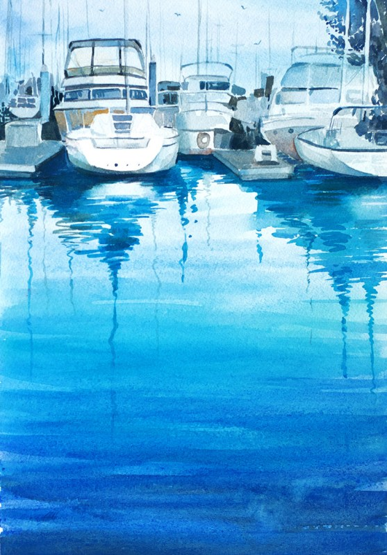 Boats Watercolor Painting by Mohana Pradhan - Doodlewash