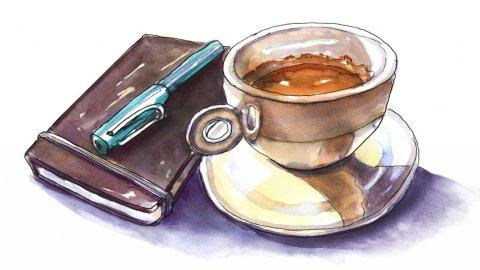 Day 10 - Sketchbook And Coffee Illustration - Doodlewash