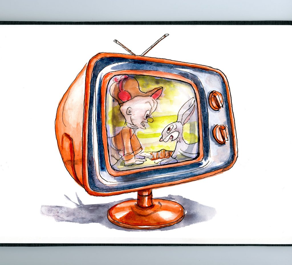 Day 14 - Classic Bugs Bunny Television Set Watercolor - Doodlewash