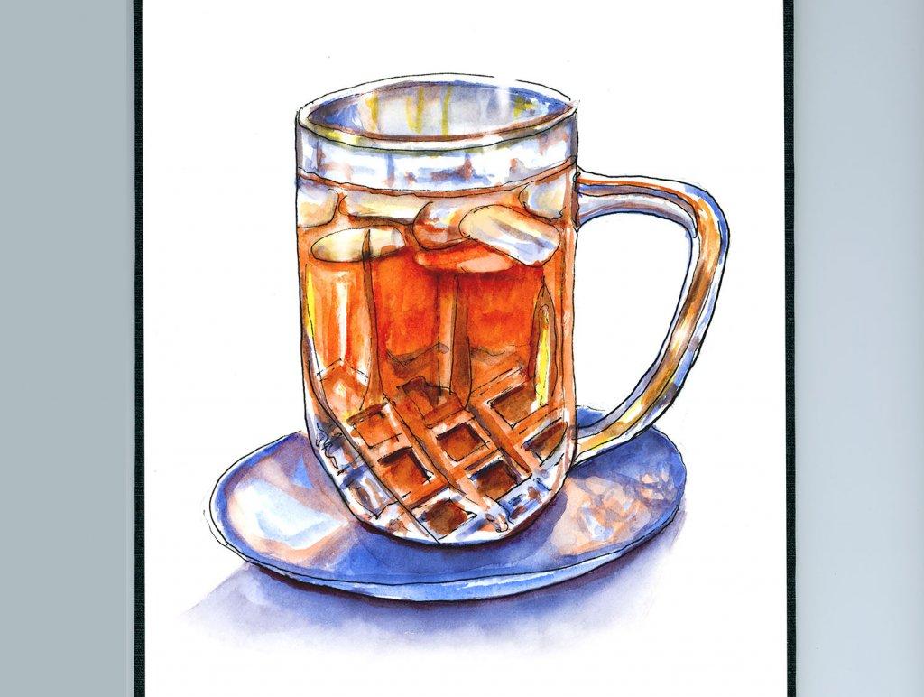 Iced Tea Glass Illustration Watercolor - Doodlewash