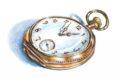 Day 2 - Pocket Watch Illustration Watercolor - Doodlewash