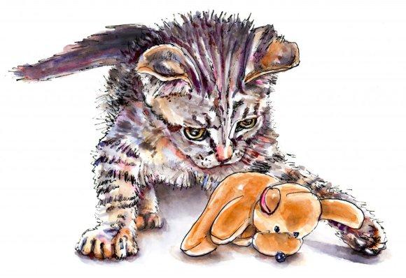 Day 21 - Cat Pet Portrait Watercolor Illustration - Doodlewash