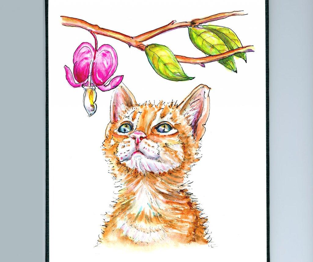 Cat Watercolor Illustration Bleeding Heart - Doodlewash