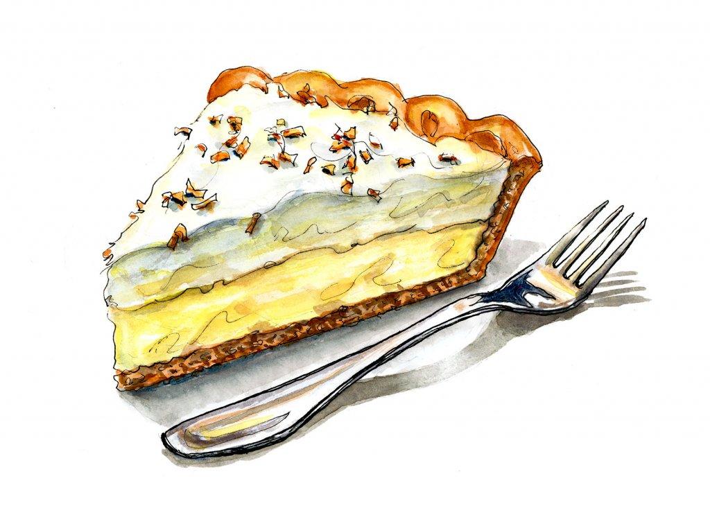 Day 24 - Coconut Cream Pie Illustration Watercolor - Doodlewash