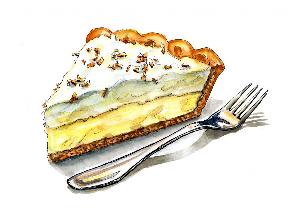 Day 24 - Coconut Cream Pie Illustration Watercolor - Doodlewash