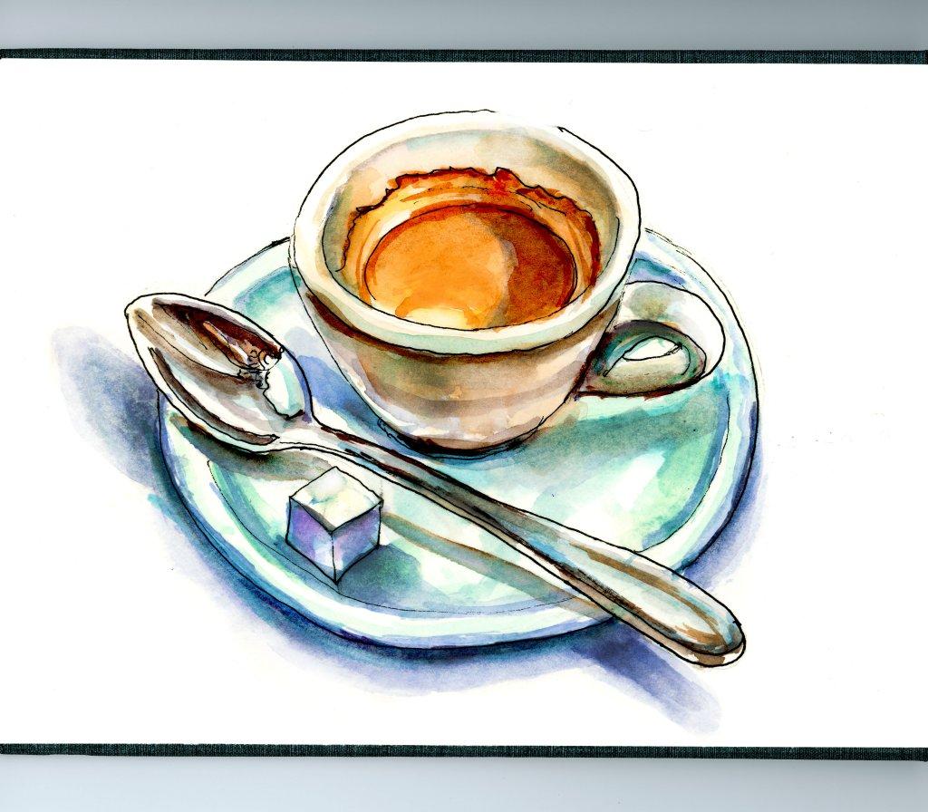 Espresso Illustration with Spoon - Doodlewash