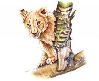 Day 3 - Lion Cub Watercolor African Safari - Doodlewash