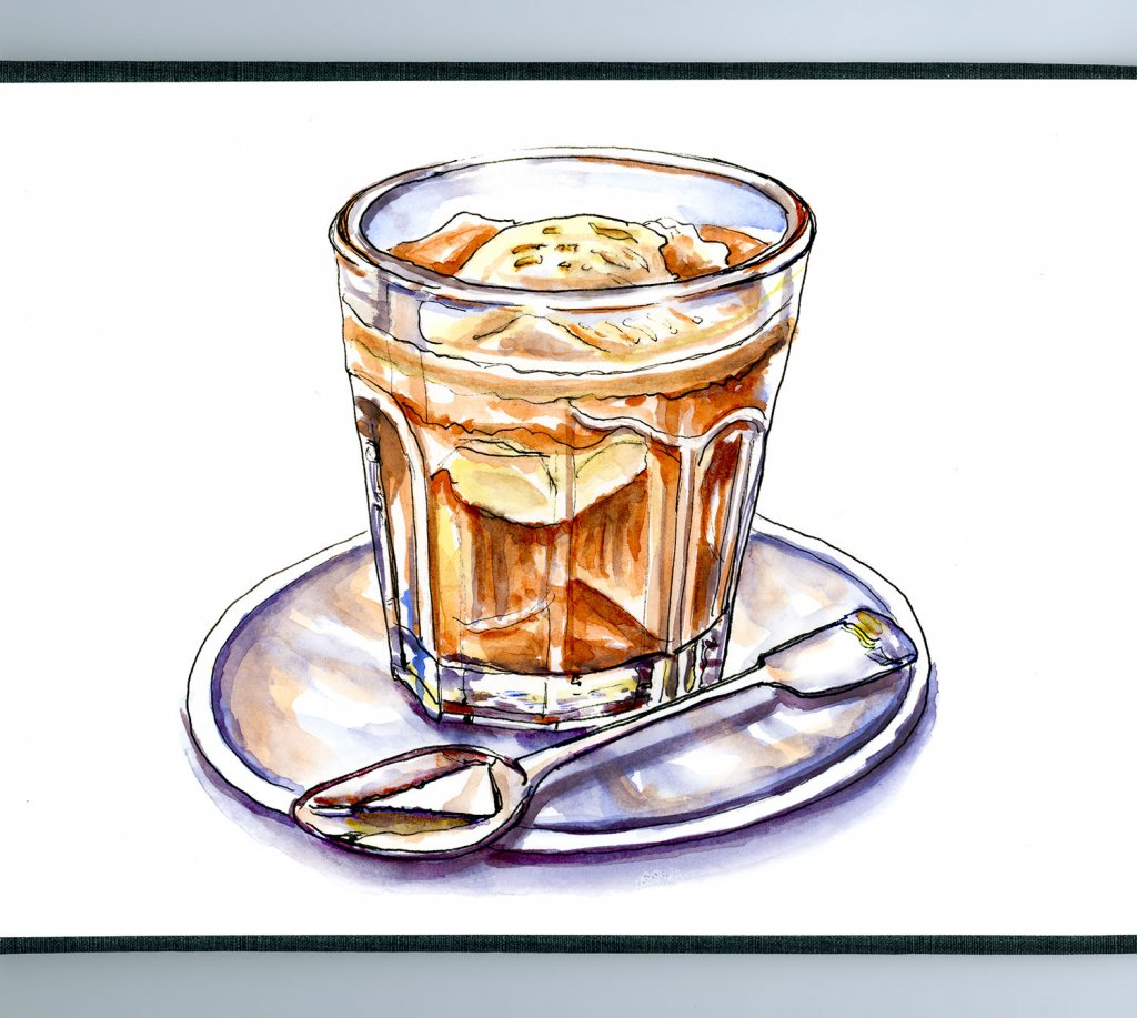 Affogato Watercolor Illustration Coffee Glass - Doodlewash
