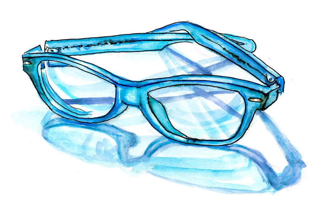 Day 6 - Eyeglasses Watercolor Blue - Doodlewash