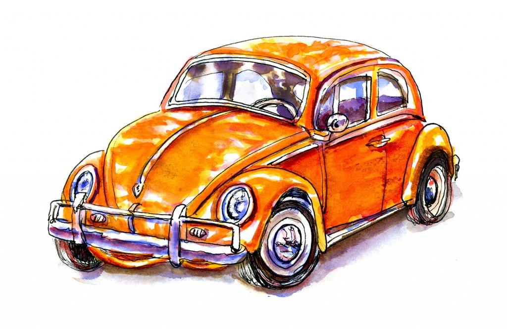 Day 7- Volkswagen Bug Illustration Watercolor - Doodlewash