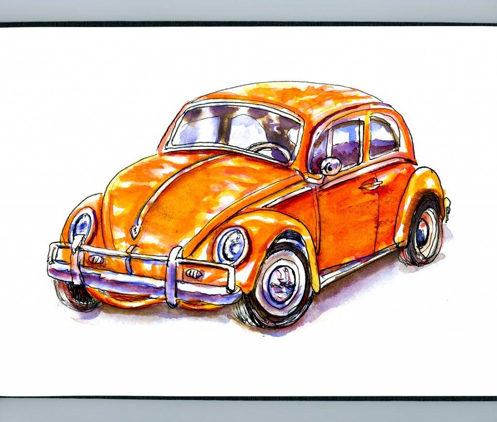 Volkswagen Bug Illustration Watercolor - Doodlewash