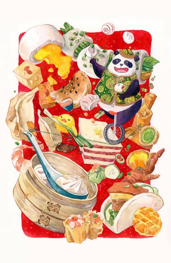Dim Sum Circus Illustration by Jiaqi He (PenelopeLovePrints) - Doodlewash