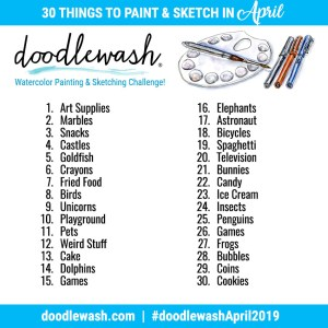 April 2019 Drawing Painting Prompts Doodlewash