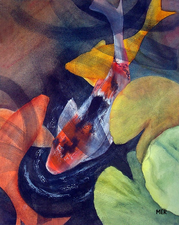 Koi Watercolor Painting By Mary Roff