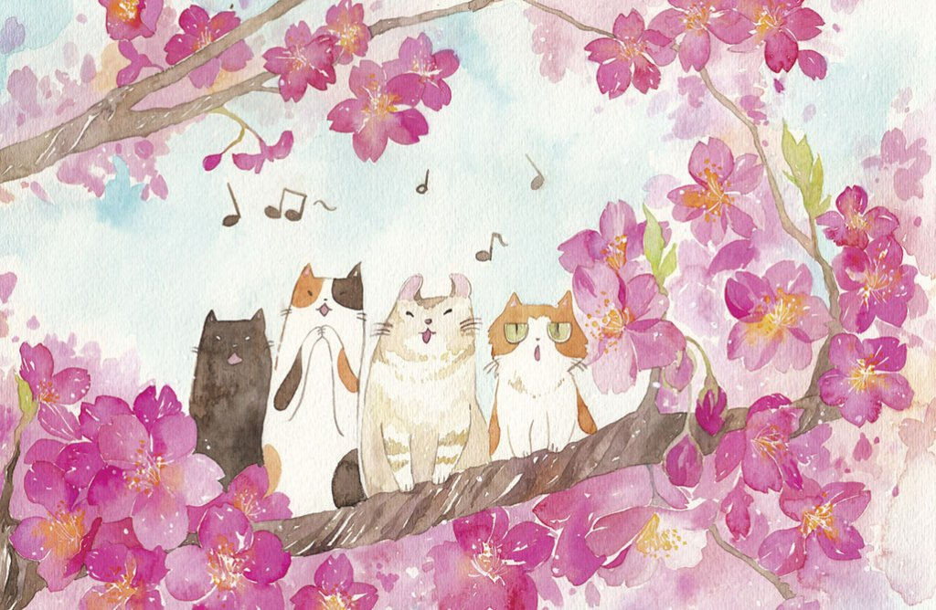 La Cat Ensemble Illustration by Jiaqi He (PenelopeLovePrints) - Doodlewash