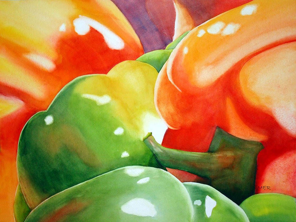 Market Peppers Watercolor Painting By Mary Roff