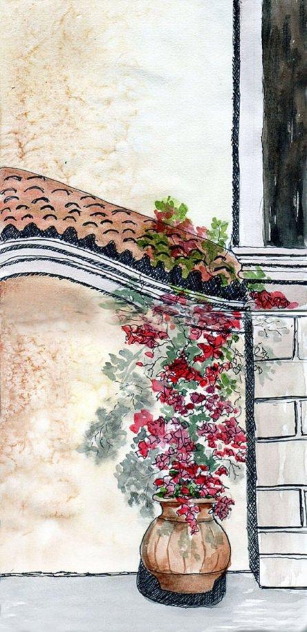 Mi Pueblo Watercolor Painting By Mary Roff