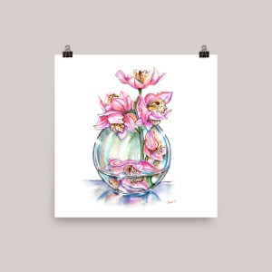 Pink Orchids In Vase Watercolor Print