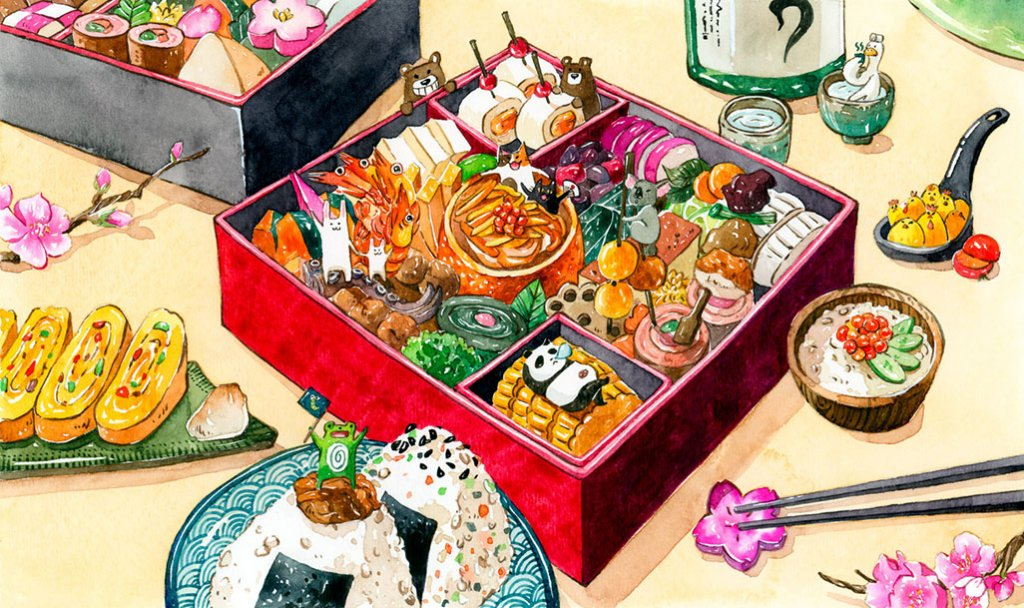Osechi Illustration by Jiaqi He (PenelopeLovePrints) - Doodlewash