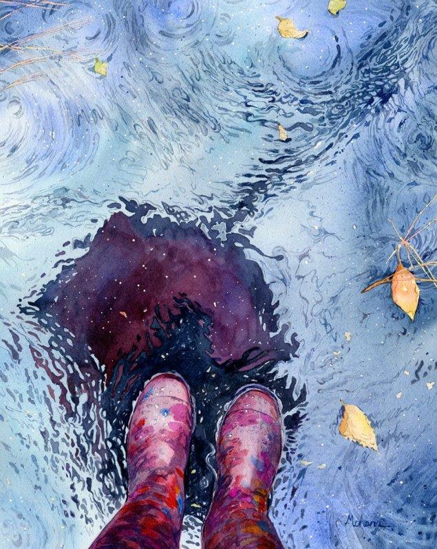Rain Boots Watercolor Painting by Mohana Pradhan - Doodlewash
