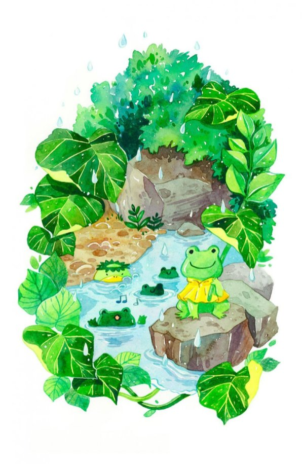 Rainy Pond Illustration by Jiaqi He (PenelopeLovePrints) - Doodlewash