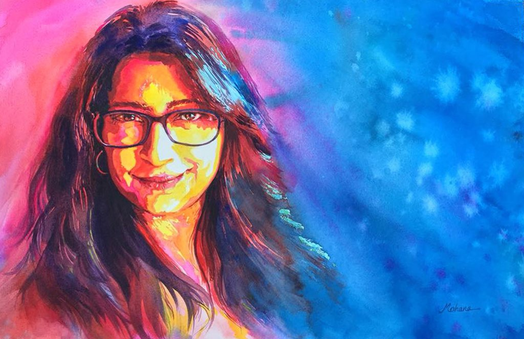 Self Portrait Watercolor Painting by Mohana Pradhan - Doodlewash