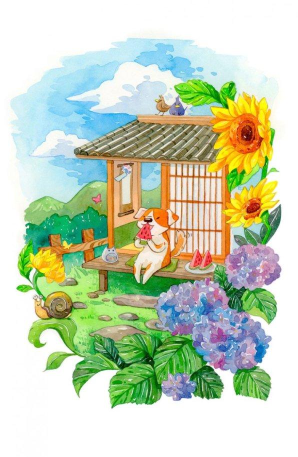 Summer Garden Illustration by Jiaqi He (PenelopeLovePrints) - Doodlewash