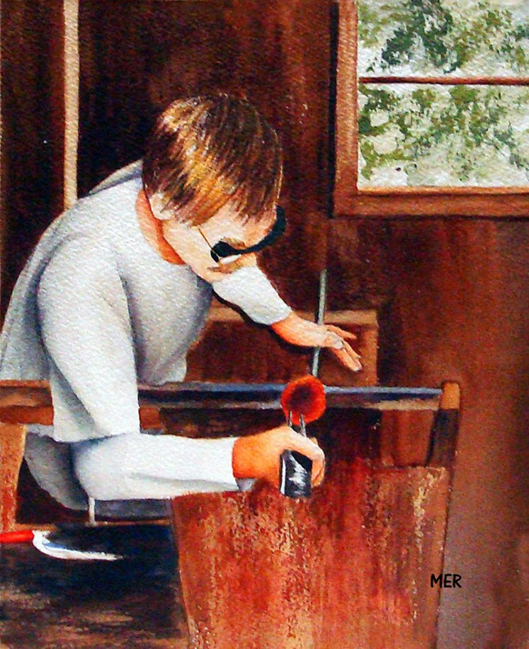 Glassblower Watercolor Painting By Mary Roff