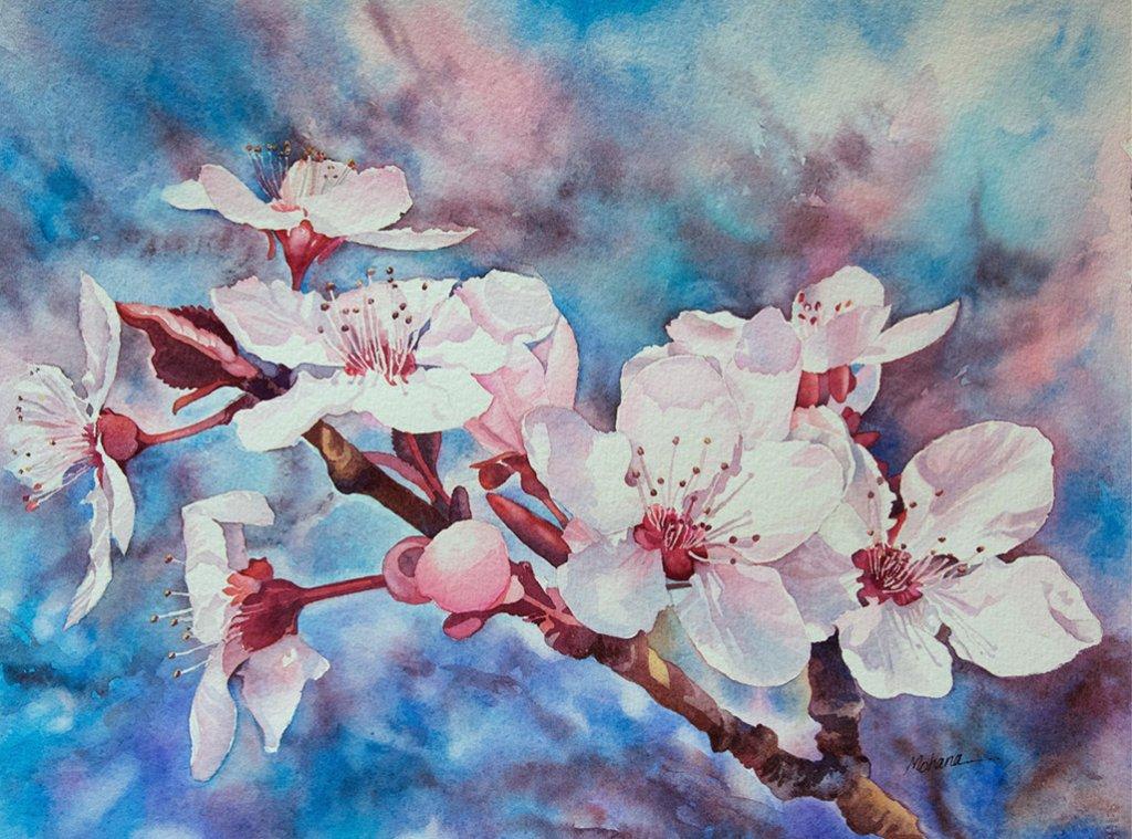 Flowers Watercolor Painting by Mohana Pradhan - Doodlewash