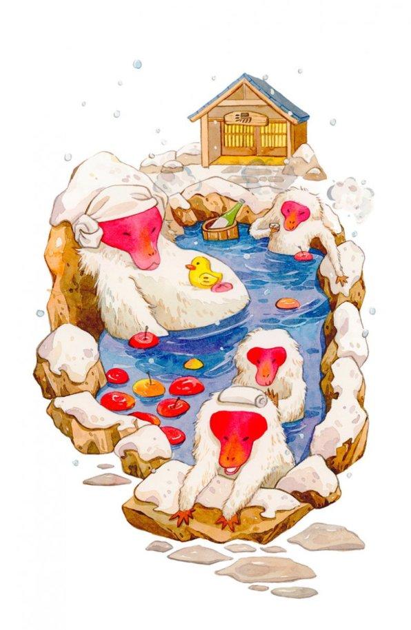 Winter Hot Spring Illustration by Jiaqi He (PenelopeLovePrints) - Doodlewash