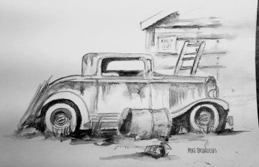 Uber Rat Rod… Old Cruiser ,Water soluble Charcoal pencil… uber car 2old cruzer 750