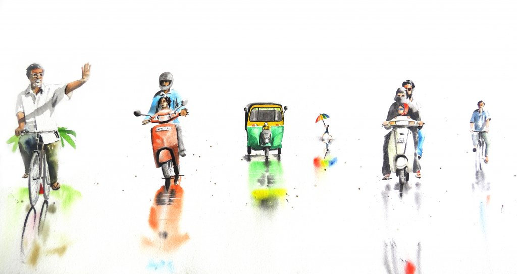 monsoon rush watercolor on paper 15 A3 – 10