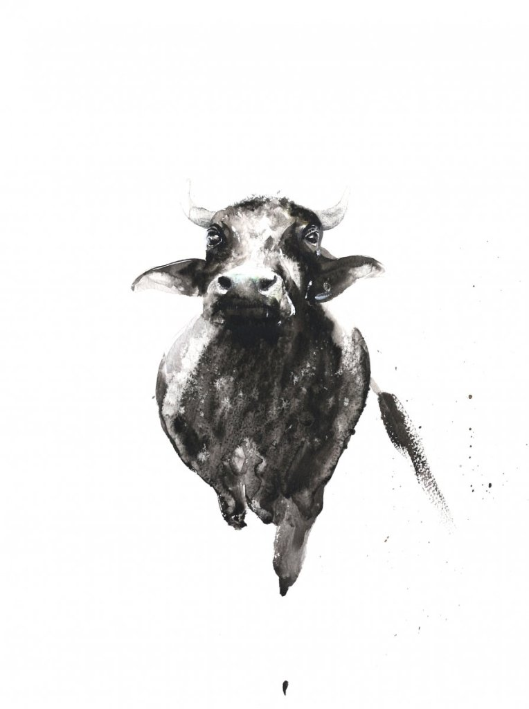 floating buffalo watercolor on paper 39 A3- 5