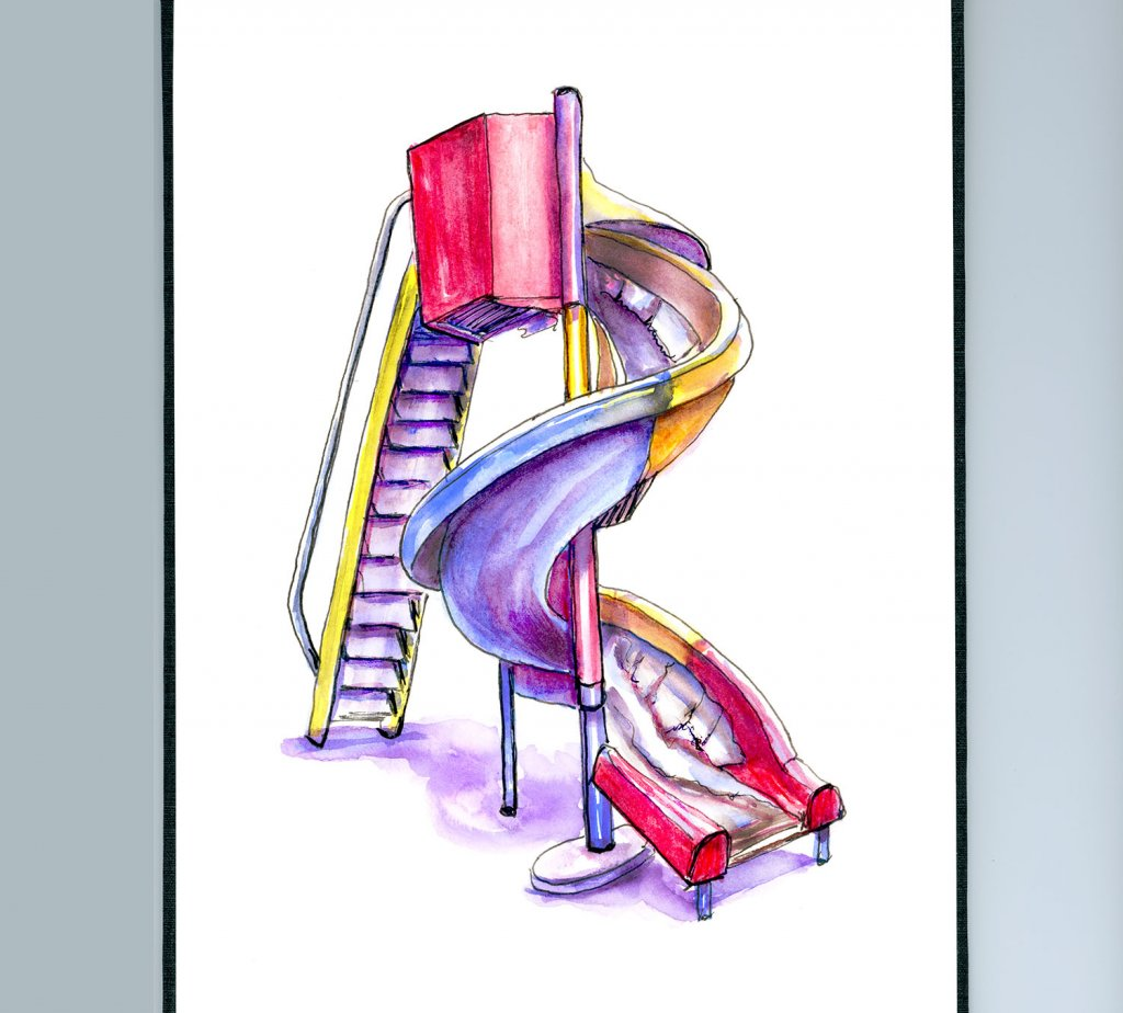 Tornado Slide Playground Illustration - Doodlewash
