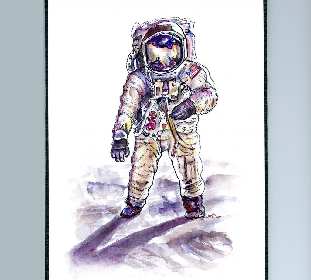 Neil Armstrong Astronaut Illustration - Doodlewash