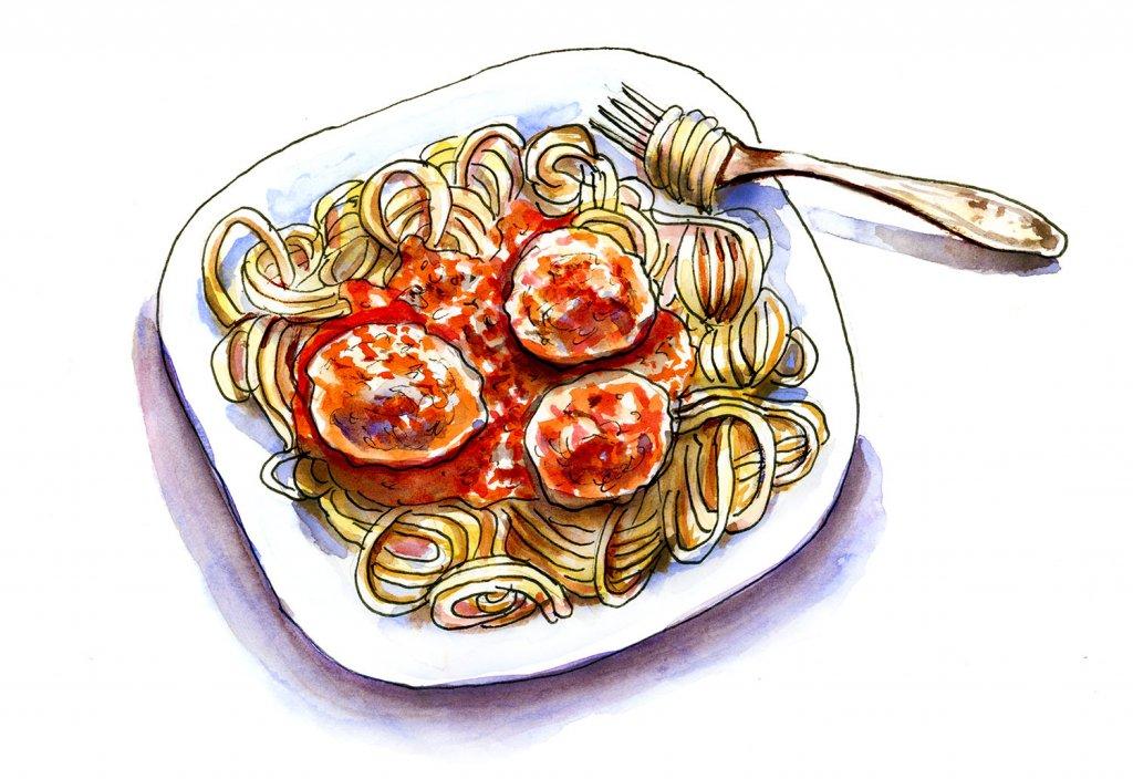 Day 19 - Spaghetti Meatballs Illustration - Doodlewash
