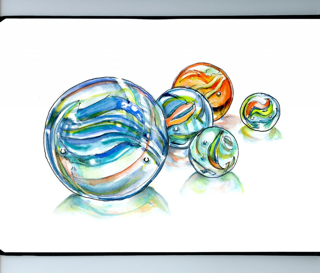 Marbles Watercolor Illustration - Doodlewash