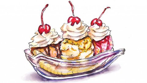 Day 23 - Banana Split Illustration - Doodlewash