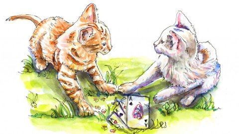 Cats Playing Poker Illustration - Doodlewash