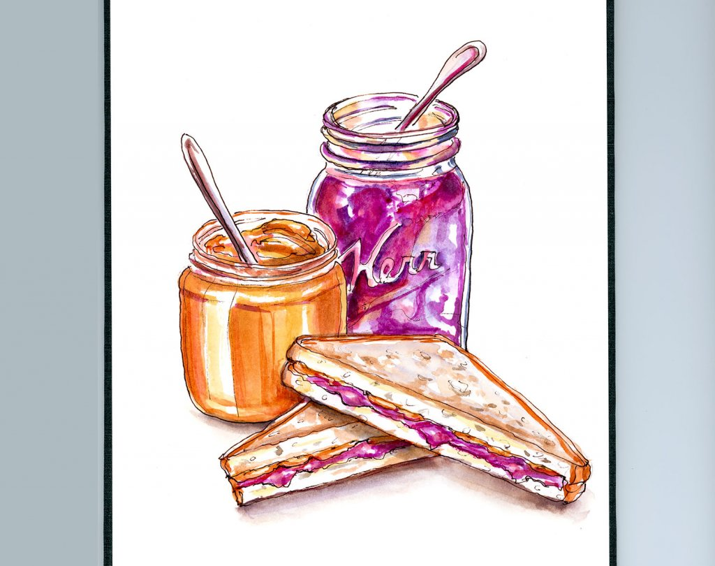 Peanut Butter And Jelly Illustration - Doodlewash