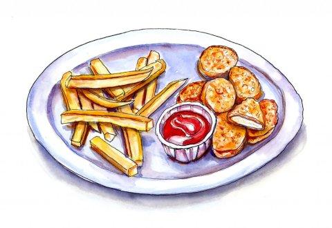 Day 7 - Kids Fried Food Illustration - Doodlewash