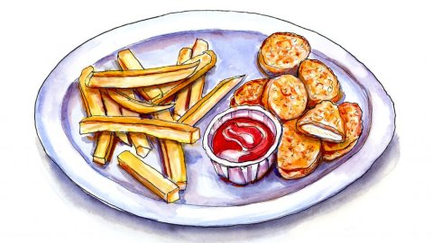 Day 7 - Kids Fried Food Illustration - Doodlewash