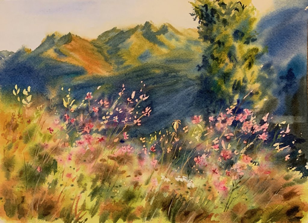 Early morning in the mountains. Watercolor, 23×31 cm. IMG_1717