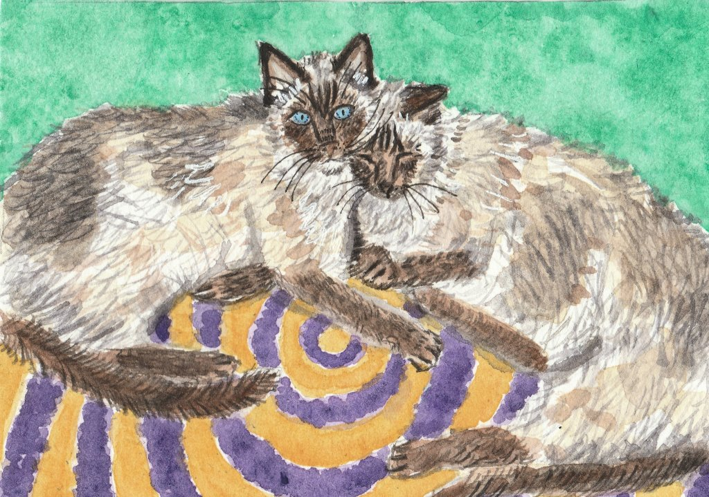 Milo and Sadie getting along for a change Watercolor painting IMG_20190407_0001