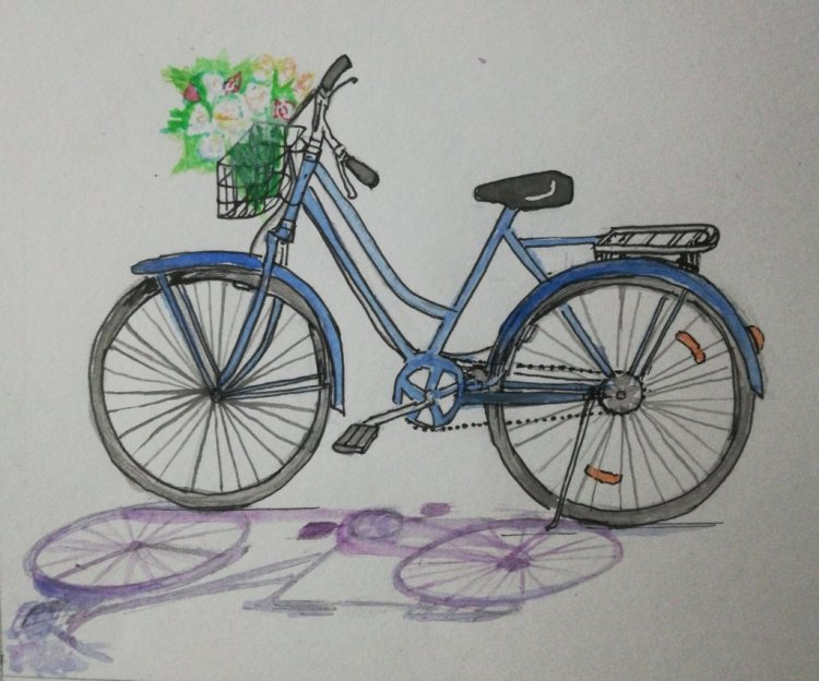 Bicycle! I would cycle to my school everyday and this sketch and wash made me remember those days! I