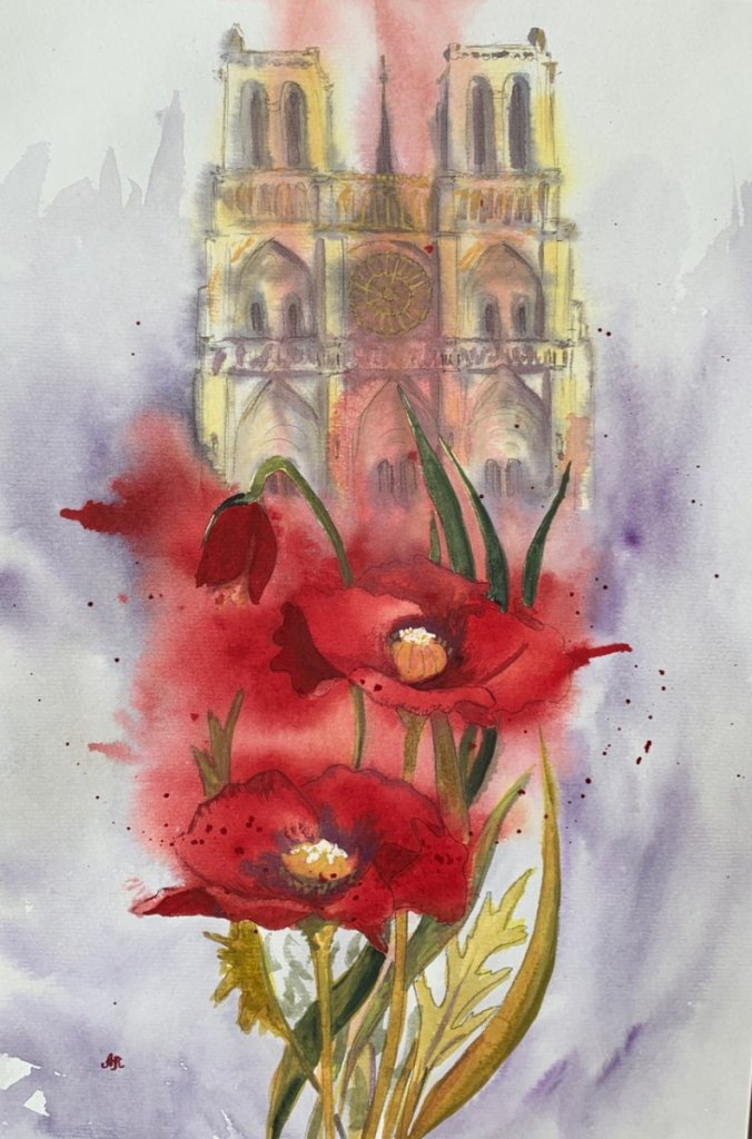 Flowers for Notre Dame. I made this quick sketch 2 days ago after hearing sad news about fire in Not